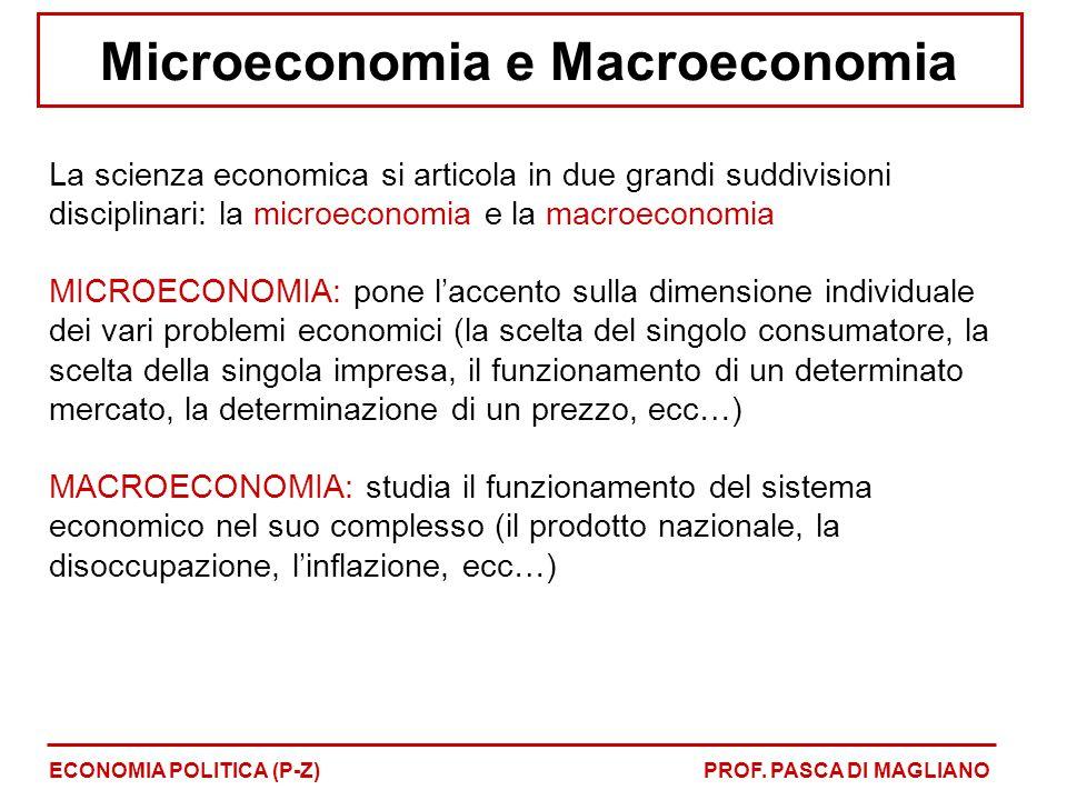 Microeconomia e Macroeconomia La scienza economica si articola in due grandi suddivisioni disciplinari: la microeconomia e la macroeconomia MICROECONO