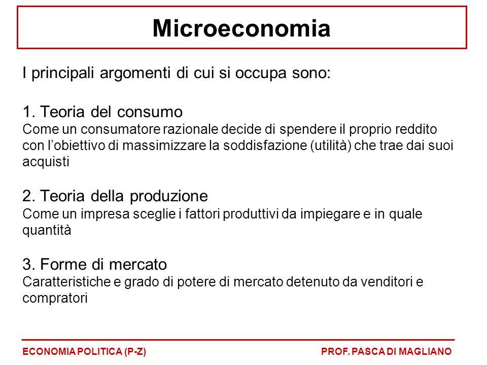 Microeconomia I principali argomenti di cui si occupa sono: 1. Teoria del consumo Come un consumatore razionale decide di spendere il proprio reddito