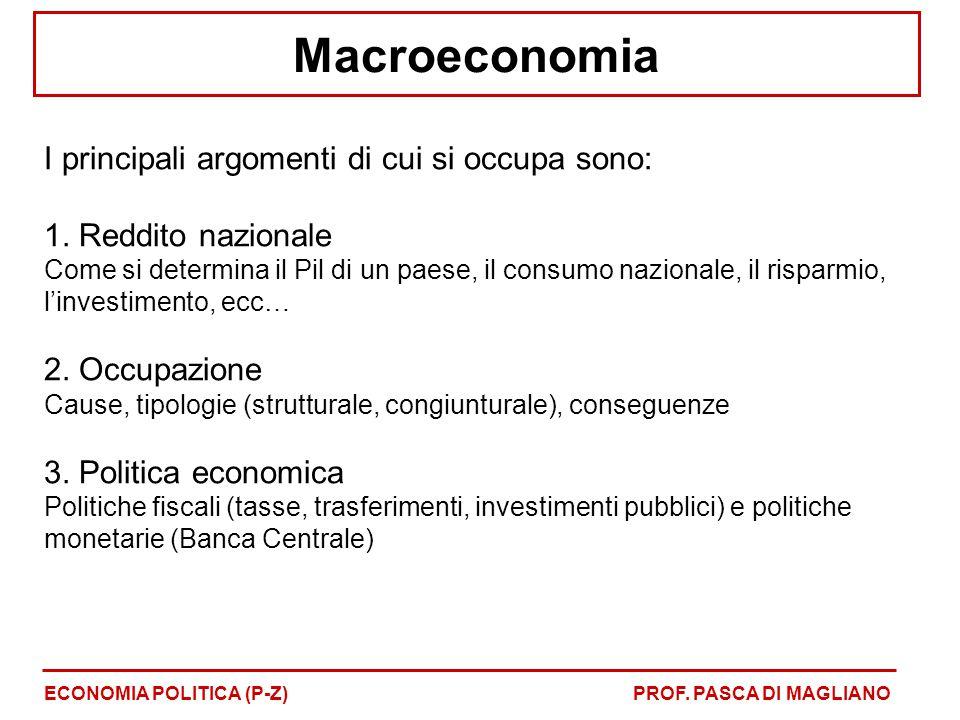 Macroeconomia I principali argomenti di cui si occupa sono: 1. Reddito nazionale Come si determina il Pil di un paese, il consumo nazionale, il rispar