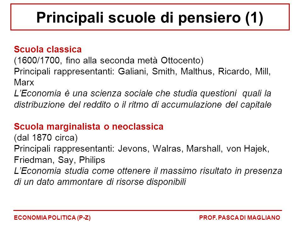 Principali scuole di pensiero (1) Scuola classica (1600/1700, fino alla seconda metà Ottocento) Principali rappresentanti: Galiani, Smith, Malthus, Ri