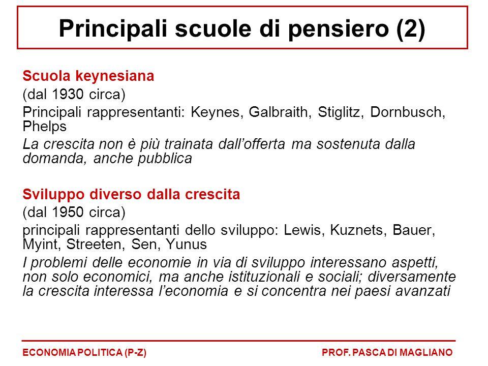 Principali scuole di pensiero (2) Scuola keynesiana (dal 1930 circa) Principali rappresentanti: Keynes, Galbraith, Stiglitz, Dornbusch, Phelps La cres
