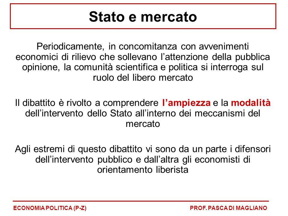 Stato e mercato Periodicamente, in concomitanza con avvenimenti economici di rilievo che sollevano l'attenzione della pubblica opinione, la comunità s
