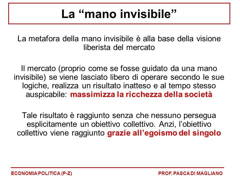 """La """"mano invisibile"""" La metafora della mano invisibile è alla base della visione liberista del mercato Il mercato (proprio come se fosse guidato da un"""
