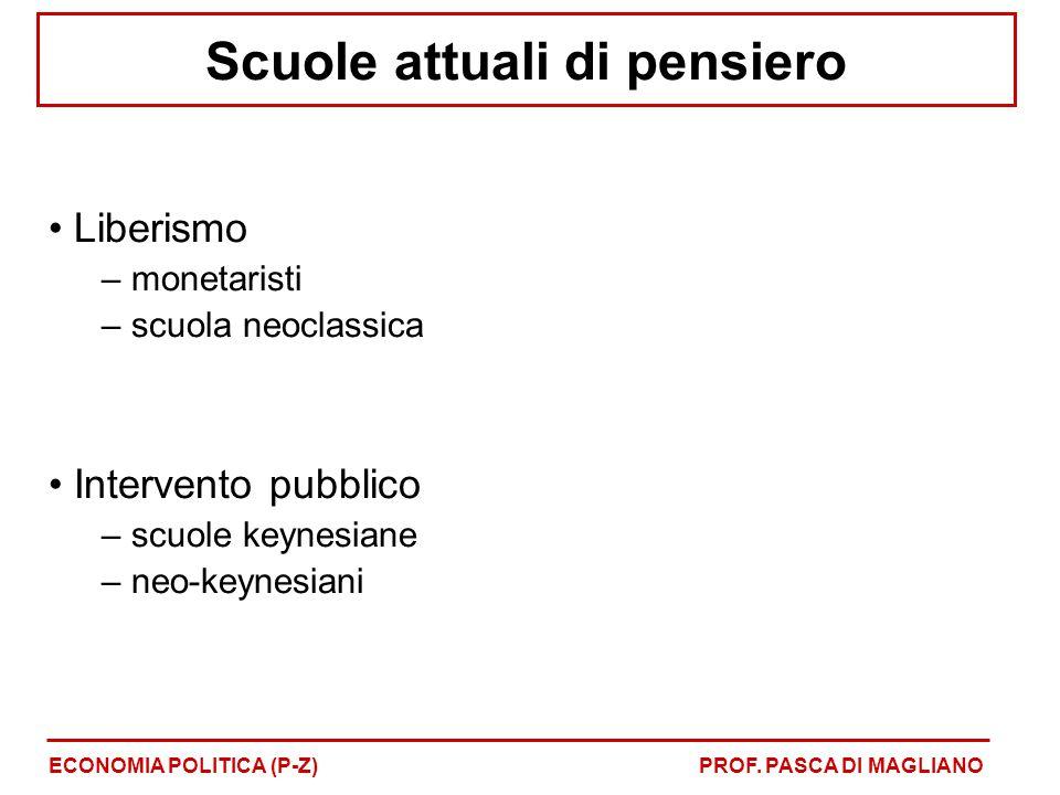 Scuole attuali di pensiero Liberismo – monetaristi – scuola neoclassica Intervento pubblico – scuole keynesiane – neo-keynesiani ECONOMIA POLITICA (P-