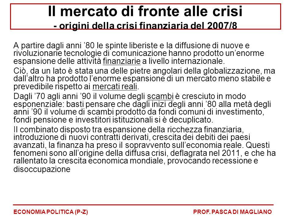Il mercato di fronte alle crisi - origini della crisi finanziaria del 2007/8 A partire dagli anni '80 le spinte liberiste e la diffusione di nuove e r