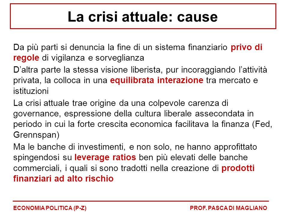 La crisi attuale: cause Da più parti si denuncia la fine di un sistema finanziario privo di regole di vigilanza e sorveglianza D'altra parte la stessa