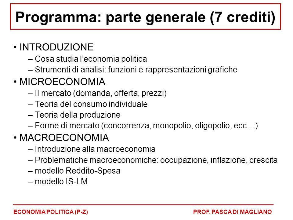 Programma: parte generale (7 crediti) INTRODUZIONE – Cosa studia l'economia politica – Strumenti di analisi: funzioni e rappresentazioni grafiche MICR