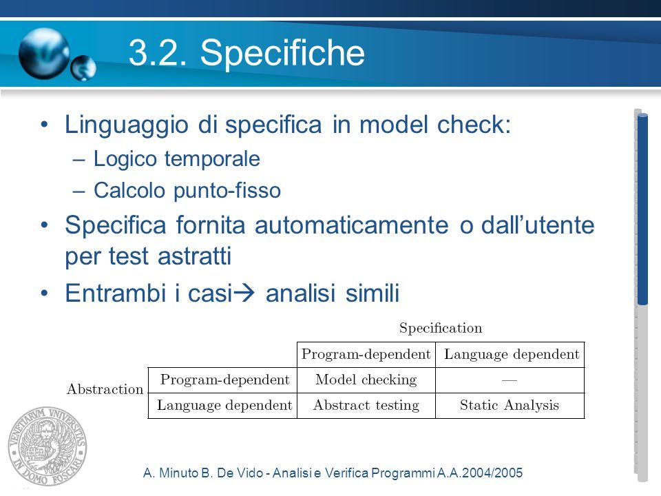 A. Minuto B. De Vido - Analisi e Verifica Programmi A.A.2004/2005 3.2.