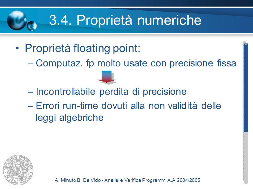 A. Minuto B. De Vido - Analisi e Verifica Programmi A.A.2004/2005 3.4.