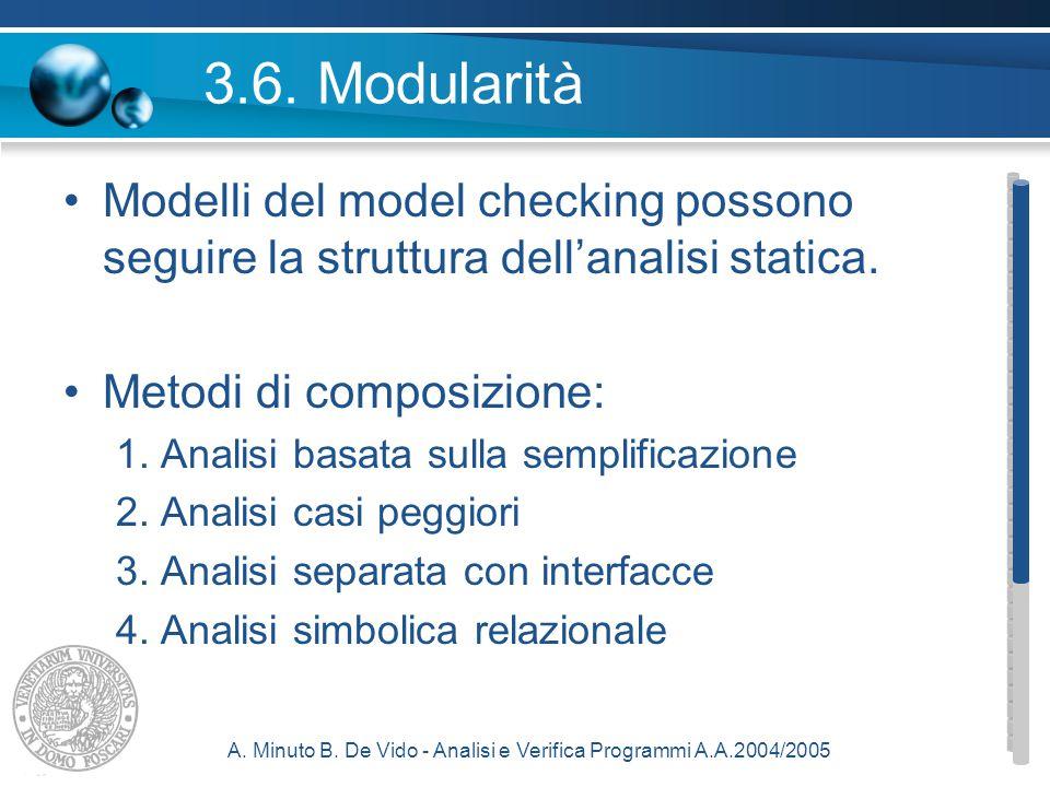 A. Minuto B. De Vido - Analisi e Verifica Programmi A.A.2004/2005 3.6.