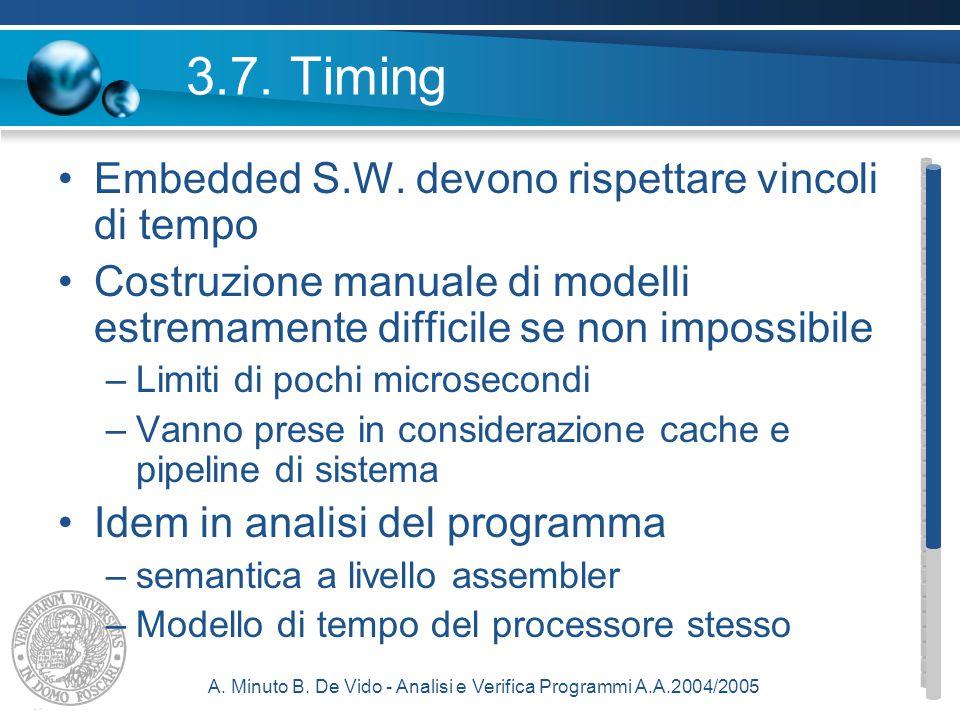 A. Minuto B. De Vido - Analisi e Verifica Programmi A.A.2004/2005 3.7.