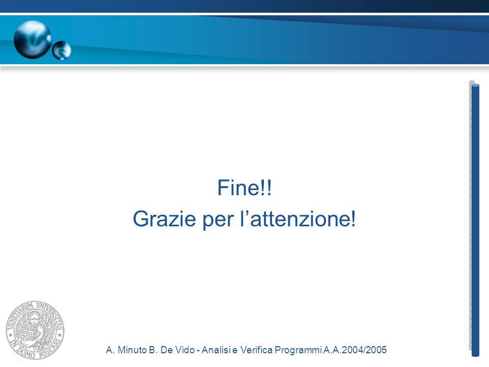 A. Minuto B. De Vido - Analisi e Verifica Programmi A.A.2004/2005 Fine!! Grazie per l'attenzione!
