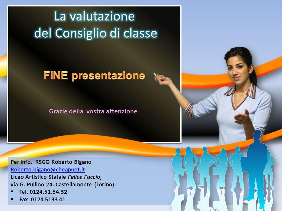 Grazie della vostra attenzione Per info. RSGQ Roberto Bigano Roberto.bigano@cheapnet.it Liceo Artistico Statale Felice Faccio, via G. Pullino 24. Cast