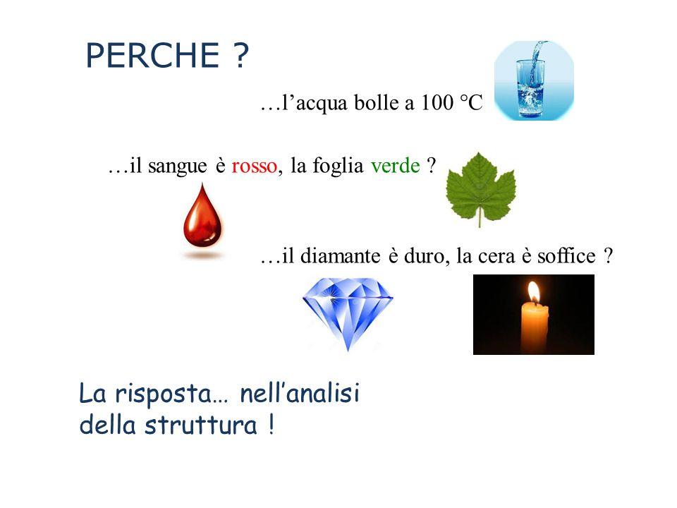 PERCHE ? …l'acqua bolle a 100 °C …il sangue è rosso, la foglia verde ? …il diamante è duro, la cera è soffice ? La risposta… nell'analisi della strutt