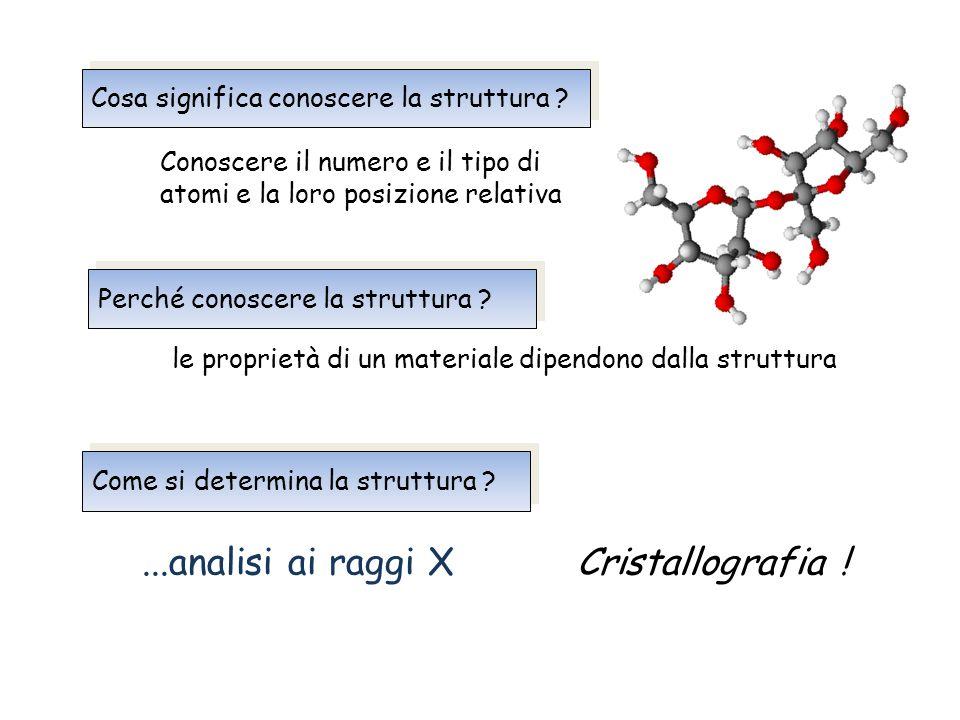 Cosa significa conoscere la struttura ? Perché conoscere la struttura ? Conoscere il numero e il tipo di atomi e la loro posizione relativa le proprie