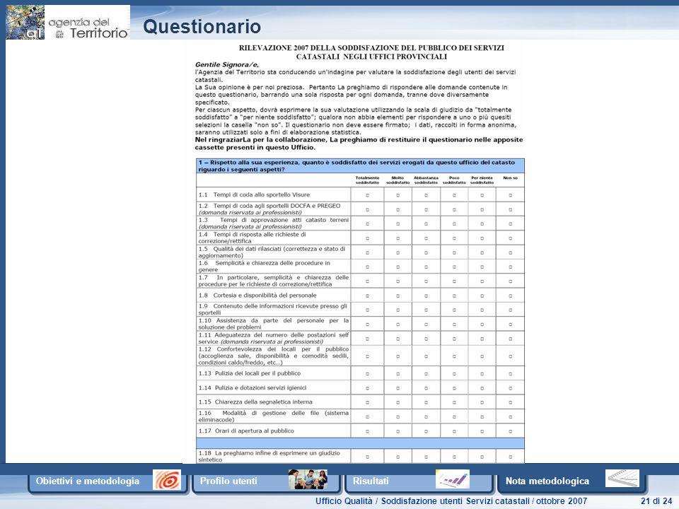Ufficio Qualità / Soddisfazione utenti Servizi catastali / ottobre 200721 di 24 Obiettivi e metodologia Profilo utenti Risultati Nota metodologica Questionario