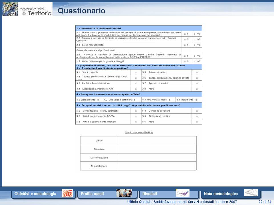 Ufficio Qualità / Soddisfazione utenti Servizi catastali / ottobre 200722 di 24 Obiettivi e metodologia Profilo utenti Risultati Nota metodologica Questionario
