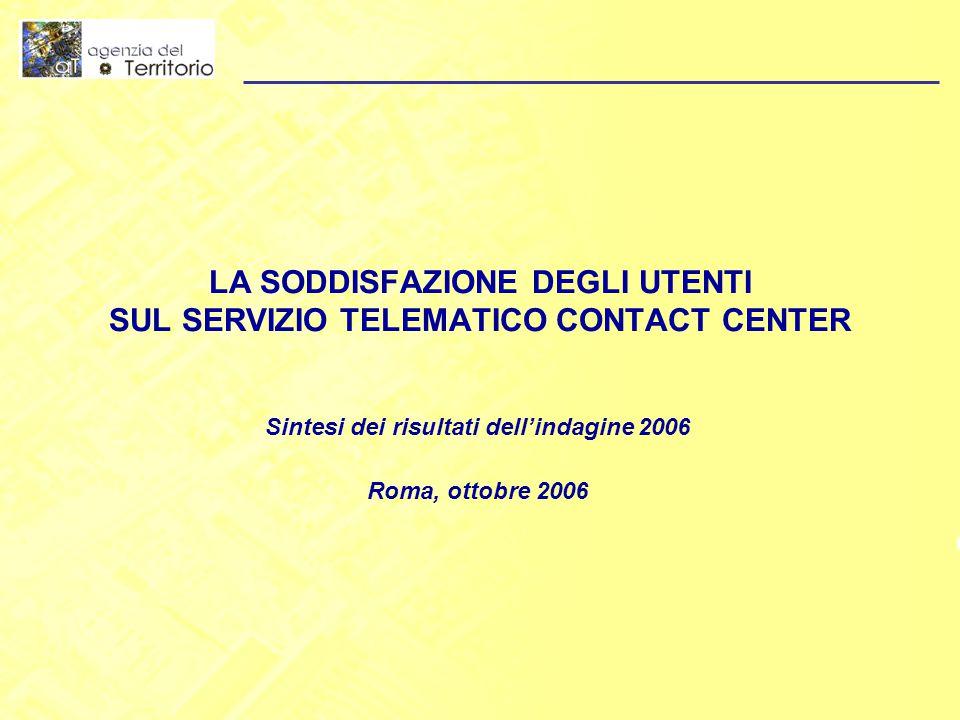 LA SODDISFAZIONE DEGLI UTENTI SUL SERVIZIO TELEMATICO CONTACT CENTER Sintesi dei risultati dell'indagine 2006 Roma, ottobre 2006