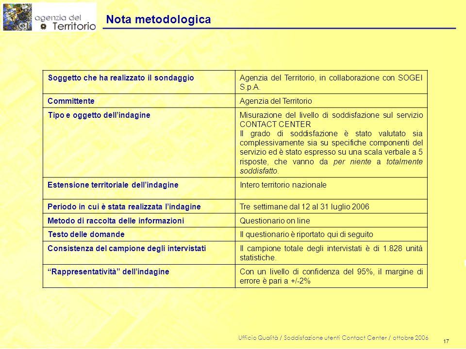 17 Ufficio Qualità / Soddisfazione utenti Contact Center / ottobre 2006 17 Nota metodologica Soggetto che ha realizzato il sondaggioAgenzia del Territorio, in collaborazione con SOGEI S.p.A.