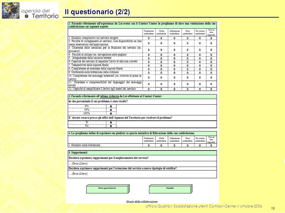 19 Ufficio Qualità / Soddisfazione utenti Contact Center / ottobre 2006 19 Il questionario (2/2)