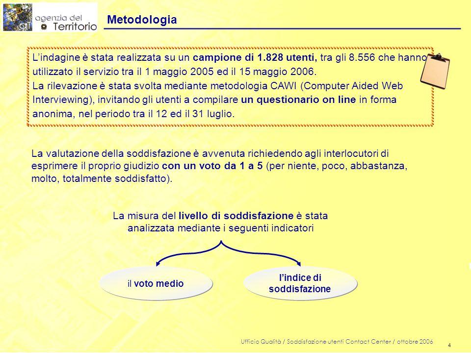 4 Ufficio Qualità / Soddisfazione utenti Contact Center / ottobre 2006 4 Metodologia L'indagine è stata realizzata su un campione di 1.828 utenti, tra gli 8.556 che hanno utilizzato il servizio tra il 1 maggio 2005 ed il 15 maggio 2006.