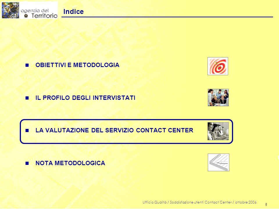 8 Ufficio Qualità / Soddisfazione utenti Contact Center / ottobre 2006 8 n OBIETTIVI E METODOLOGIA n IL PROFILO DEGLI INTERVISTATI n LA VALUTAZIONE DEL SERVIZIO CONTACT CENTER n NOTA METODOLOGICA Indice