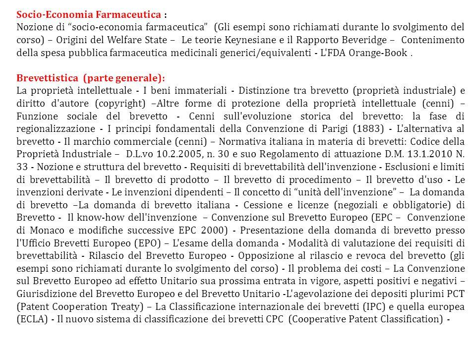 """Socio-Economia Farmaceutica : Nozione di """"socio-economia farmaceutica"""" (Gli esempi sono richiamati durante lo svolgimento del corso) – Origini del Wel"""
