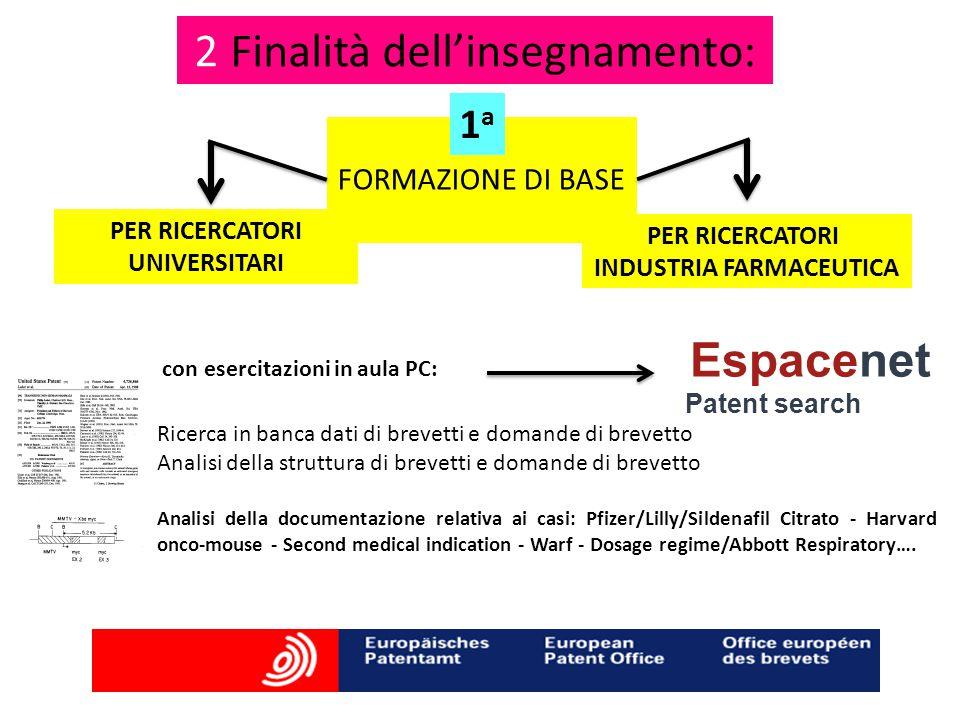 2 Finalità dell'insegnamento: PER RICERCATORI UNIVERSITARI con esercitazioni in aula PC: Espacenet Patent search Ricerca in banca dati di brevetti e d