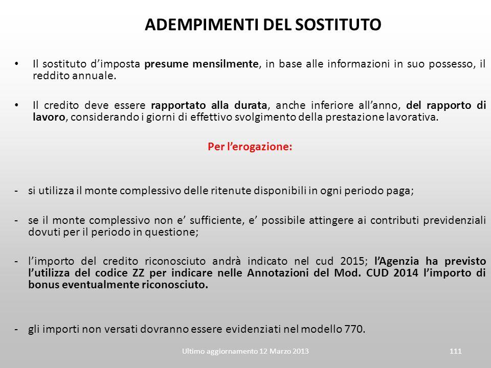 Ultimo aggiornamento 12 Marzo 2013111 ADEMPIMENTI DEL SOSTITUTO Il sostituto d'imposta presume mensilmente, in base alle informazioni in suo possesso,