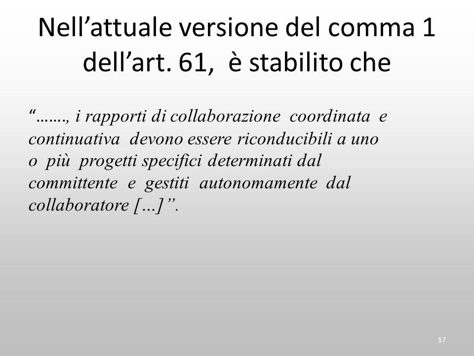 """Nell'attuale versione del comma 1 dell'art. 61, è stabilito che """"……., i rapporti di collaborazione coordinata e continuativa devono essere riconducibi"""