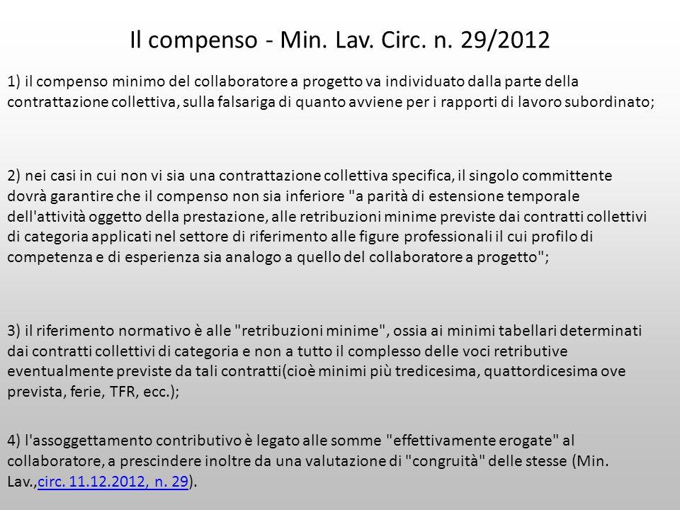 Il compenso - Min. Lav. Circ. n. 29/2012 1) il compenso minimo del collaboratore a progetto va individuato dalla parte della contrattazione collettiva