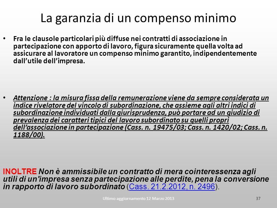 Ultimo aggiornamento 12 Marzo 201337 La garanzia di un compenso minimo Fra le clausole particolari più diffuse nei contratti di associazione in partec