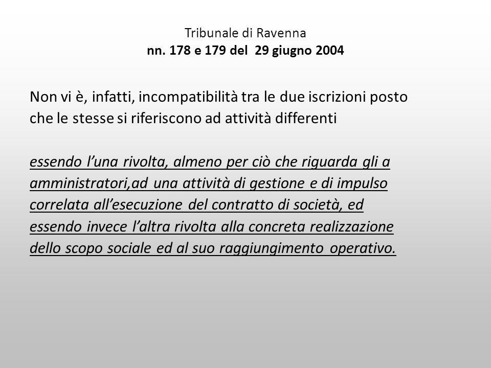 Tribunale di Ravenna nn. 178 e 179 del 29 giugno 2004 Non vi è, infatti, incompatibilità tra le due iscrizioni posto che le stesse si riferiscono ad a