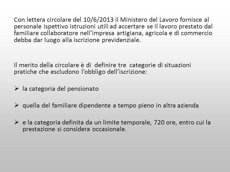 Con lettera circolare del 10/6/2013 il Ministero del Lavoro fornisce al personale ispettivo istruzioni utili ad accertare se il lavoro prestato dal fa