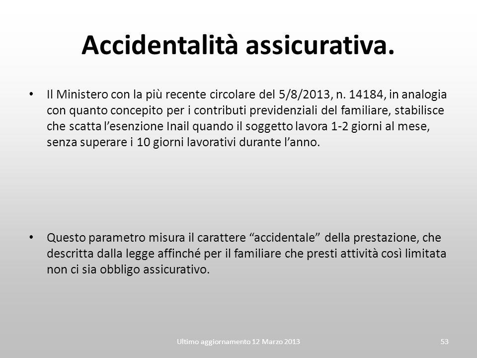 Accidentalità assicurativa. Il Ministero con la più recente circolare del 5/8/2013, n. 14184, in analogia con quanto concepito per i contributi previd