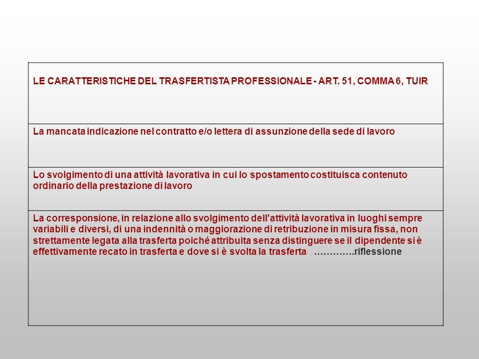 LE CARATTERISTICHE DEL TRASFERTISTA PROFESSIONALE - ART. 51, COMMA 6, TUIR La mancata indicazione nel contratto e/o lettera di assunzione della sede d