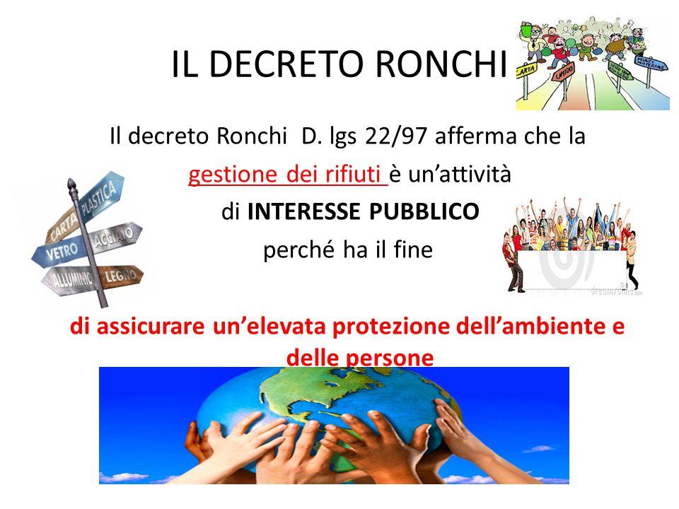 IL DECRETO RONCHI Il decreto Ronchi D. lgs 22/97 afferma che la gestione dei rifiuti è un'attività di INTERESSE PUBBLICO perché ha il fine di assicura