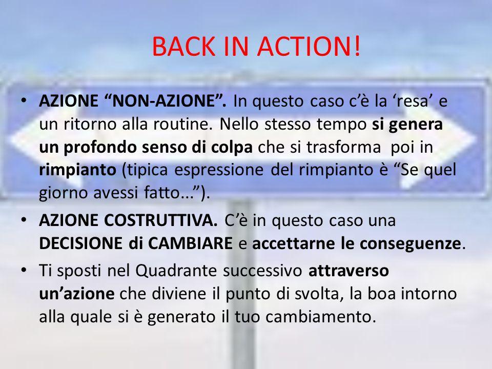 BACK IN ACTION. AZIONE NON-AZIONE . In questo caso c'è la 'resa' e un ritorno alla routine.