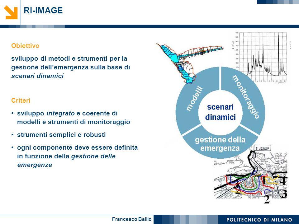 Francesco Ballio RI-IMAGE Obiettivo sviluppo di metodi e strumenti per la gestione dell'emergenza sulla base di scenari dinamici Criteri sviluppo inte