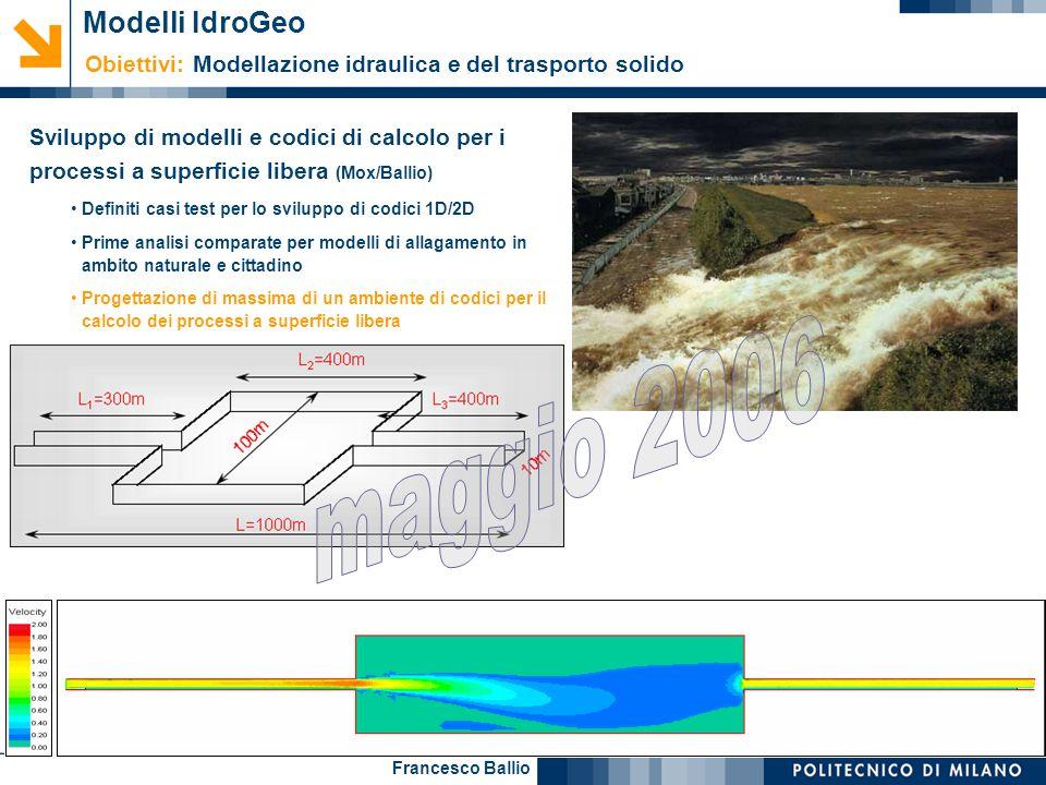 Francesco Ballio Sviluppo di modelli e codici di calcolo per i processi a superficie libera (Mox/Ballio) Definiti casi test per lo sviluppo di codici
