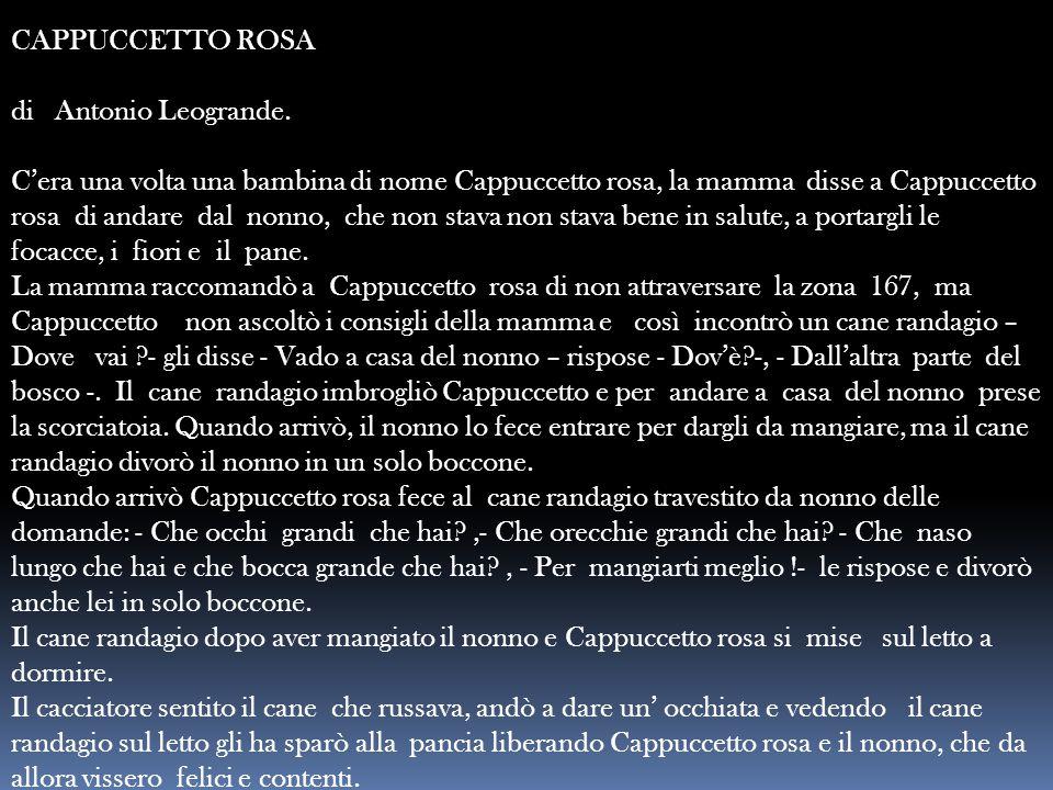 CAPPUCCETTO ROSA di Antonio Leogrande. C'era una volta una bambina di nome Cappuccetto rosa, la mamma disse a Cappuccetto rosa di andare dal nonno, ch
