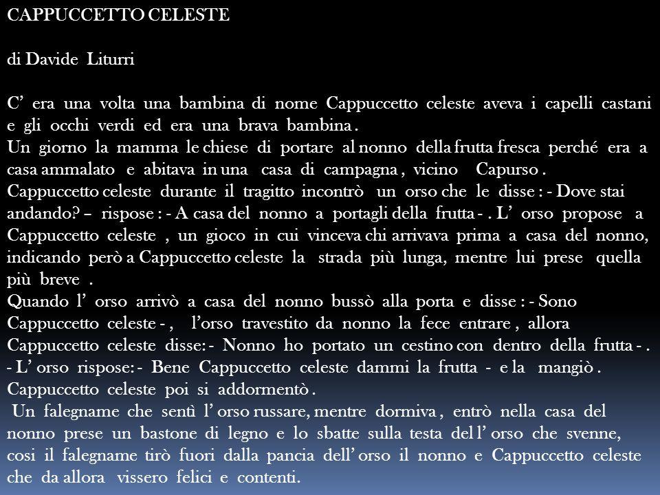 CAPPUCCETTO CELESTE di Davide Liturri C' era una volta una bambina di nome Cappuccetto celeste aveva i capelli castani e gli occhi verdi ed era una br