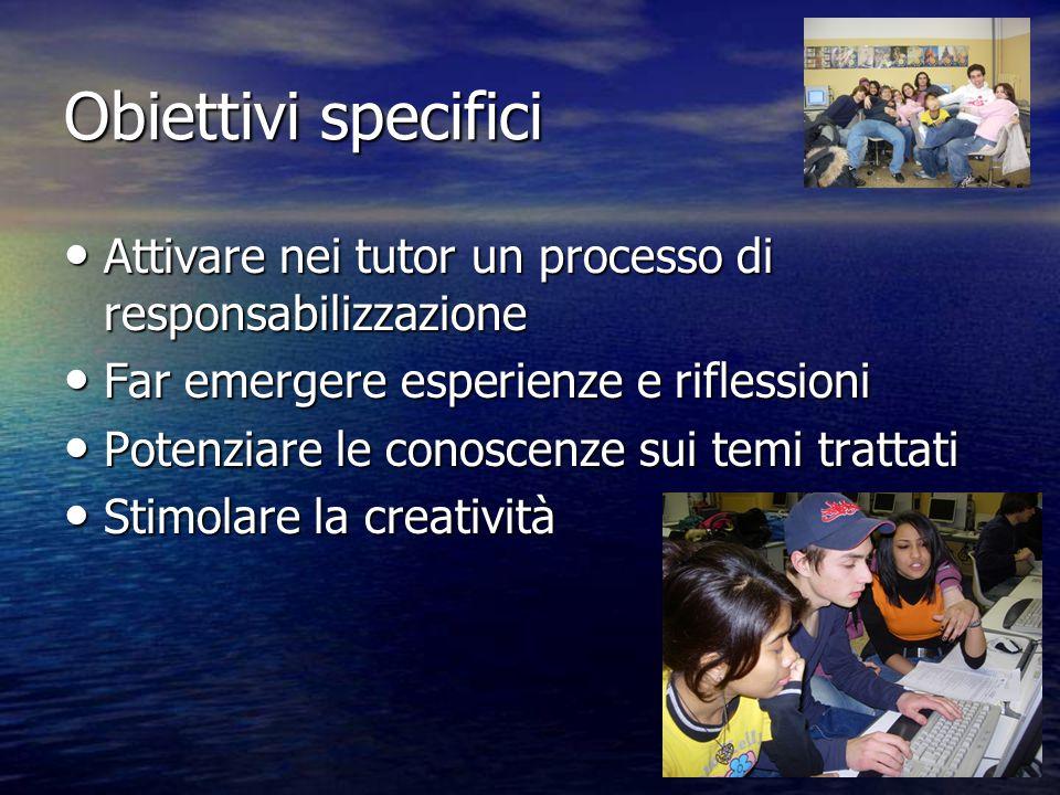 Obiettivi specifici Attivare nei tutor un processo di responsabilizzazione Attivare nei tutor un processo di responsabilizzazione Far emergere esperie