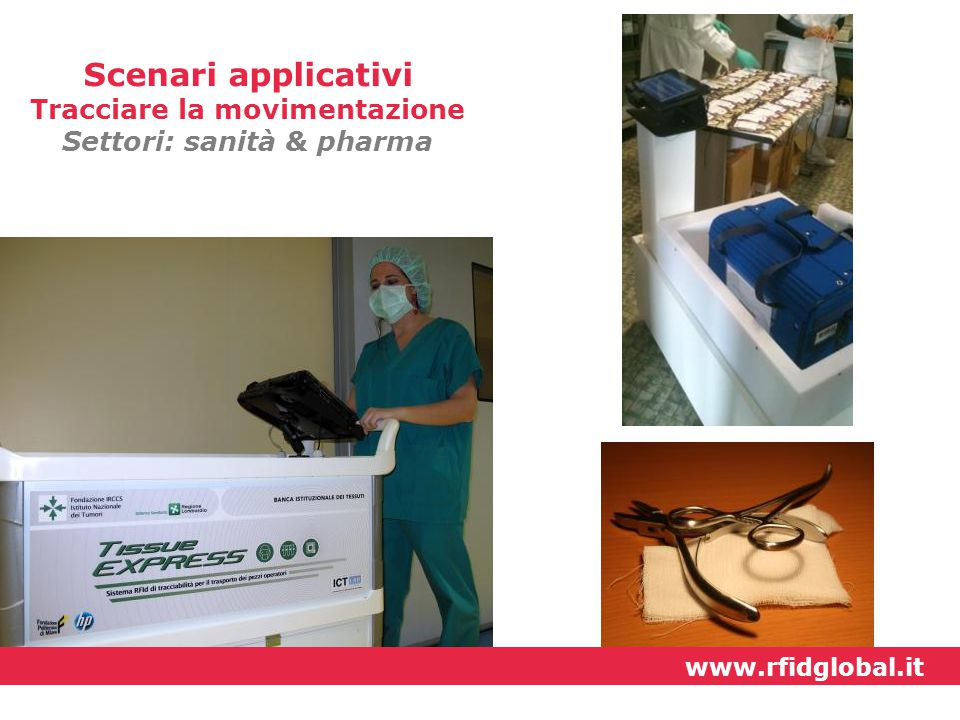 Scenari applicativi Tracciare la movimentazione Settori: sanità & pharma www.rfidglobal.it