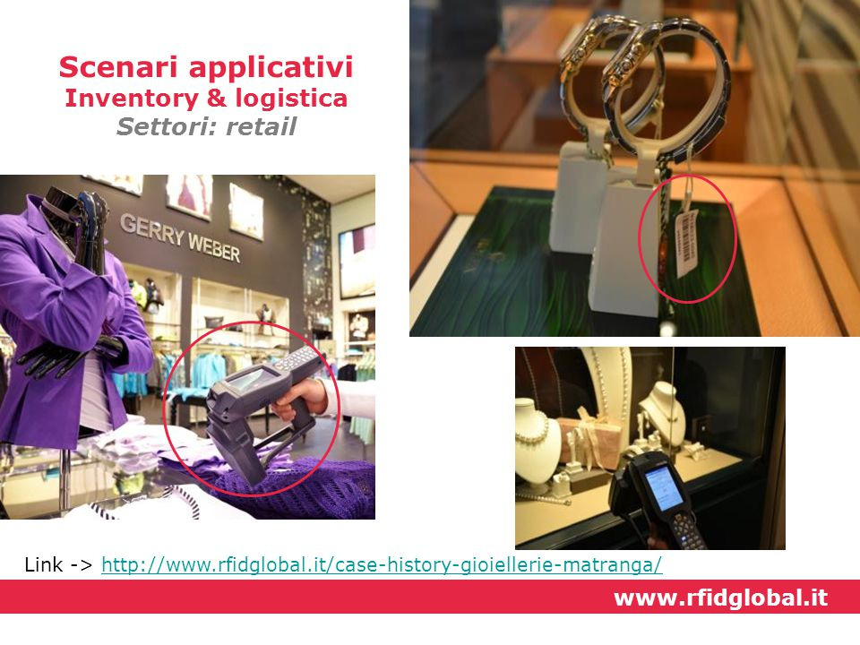 Link -> http://www.rfidglobal.it/case-history-gioiellerie-matranga/http://www.rfidglobal.it/case-history-gioiellerie-matranga/ Scenari applicativi Inv