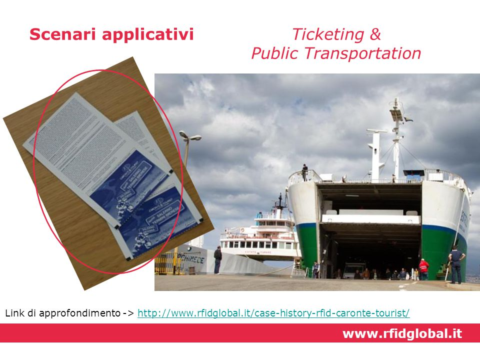 Scenari applicativiTicketing & Public Transportation Link di approfondimento -> http://www.rfidglobal.it/case-history-rfid-caronte-tourist/http://www.