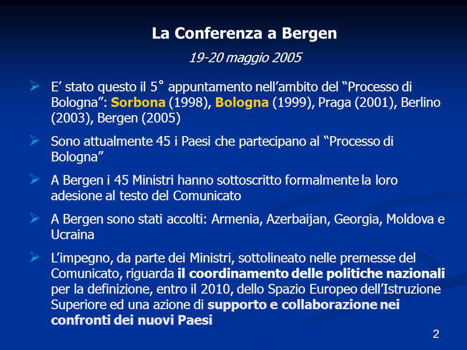 """2 La Conferenza a Bergen 19-20 maggio 2005  E' stato questo il 5˚ appuntamento nell'ambito del """"Processo di Bologna"""": Sorbona (1998), Bologna (1999),"""