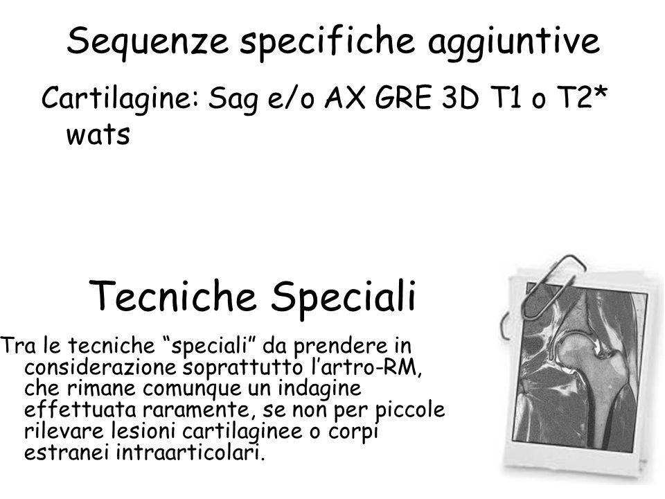 """Sequenze specifiche aggiuntive Cartilagine: Sag e/o AX GRE 3D T1 o T2* wats Tecniche Speciali Tra le tecniche """"speciali"""" da prendere in considerazione"""