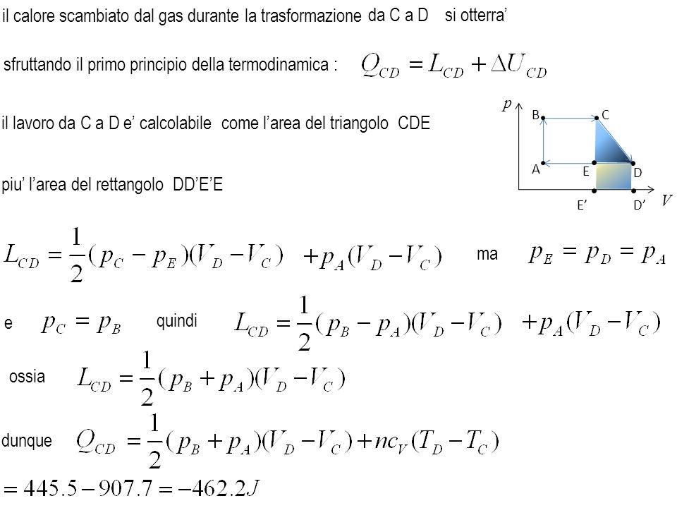 il calore scambiato dal gas durante la trasformazione sfruttando il primo principio della termodinamica : il lavoro da C a D e' calcolabile da C a Dsi