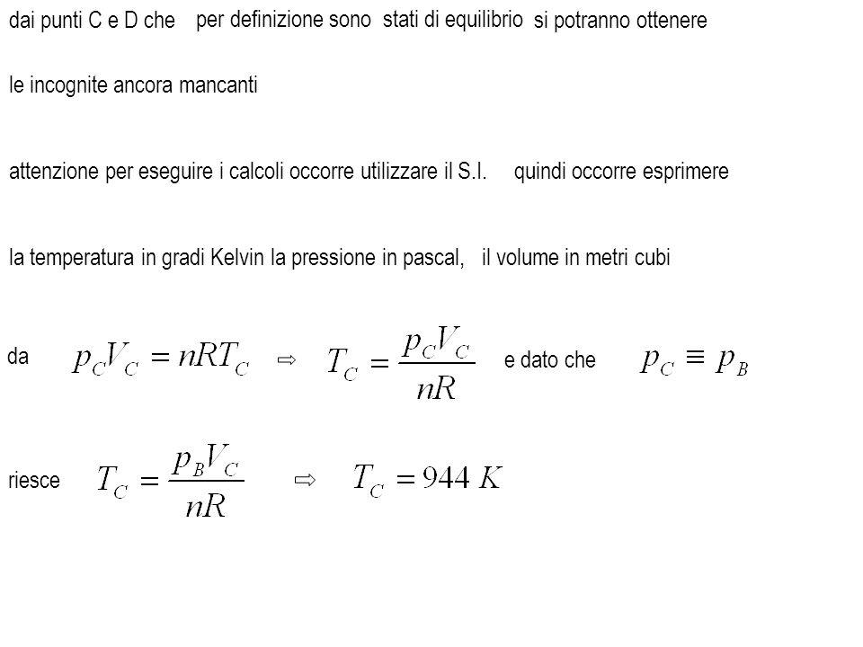 dai punti C e D che e dato che da attenzione per eseguire i calcoli occorre utilizzare il S.I. la temperatura in gradi Kelvin si potranno ottenere la